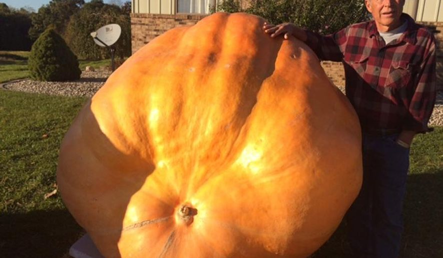 In this photo released by WANE-TV, Keith Edwards stands next to his 1,364 pound pumpkin in Albion, Ind., Thursday, Oct. 9, 2014. Edwards began growing pumpkins as a hobby about four years ago and is now experiencing his most successful harvest yet. (AP Photo/WANE-TV, Randy Spieth)