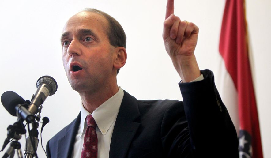 FILE - This Sept. 4, 2013 file photo shows Missouri Auditor Tom Schweich, in St. Louis. At least 10 municipal courts will be audited over the next year to make sure they're not being used solely as revenue generators for cash-strapped communities, Schweich said. (AP Photo/St. Louis Post-Dispatch, Christian Gooden, File) EDWARDSVILLE INTELLIGENCER OUT; THE ALTON TELEGRAPH OUT