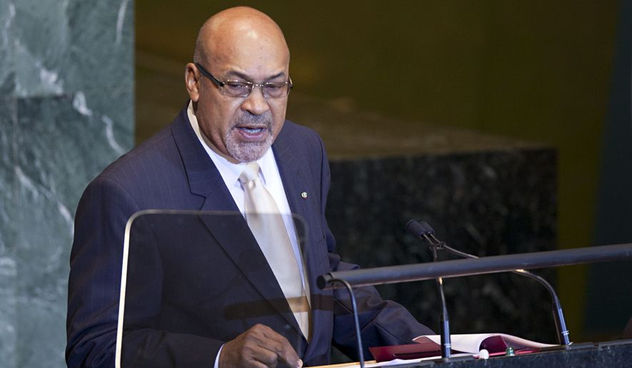 Suriname's President Desire Delano Bouterse speaks at the 66th session of the United Nations General Assembly at U.N. headquarters on Thursday, Sept. 22, 2011. (AP Photo/Andrew Burton)