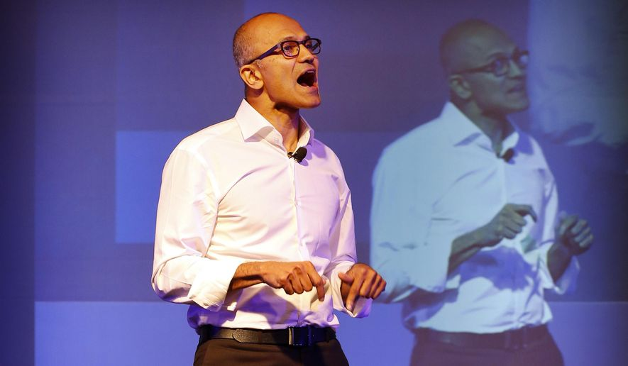 FILE - In this Tuesday, Sept. 30, 2014, file photo, Microsoft CEO Satya Nadella speaks to students at the Talent India 2014 program in New Delhi. Nadella's foot-in-mouth statement that women shouldn't ask for raises echoed throughout the tech industry and beyond Thursday, Oct. 9, 2014, earning him quick derisions on social media and leading to a later apology. (AP Photo/Manish Swarup, File)
