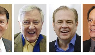 FILE - This combo of file photos shows South Dakota U.S. Senate candidates, from left: Republican Mike Rounds; independent Larry Pressler; Democrat Rick Weiland, and independent Gordon Howie. Neither Democrat Weiland nor Republican-turned-independent Pressler has kept pace with Rounds' fundraising in the race. But Rounds has failed to pull away, dogged by a fresh focus on his tenure as governor, an office he held from 2003 to 2011. Also running is Howie, a former state senator with tea party support. (AP Photo/File)