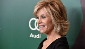 Jane Fonda arrives at the 2014 Variety Power Of Women event at the Beverly Wilshire Four Seasons Hotel on Friday, Oct. 10, 2014, in Beverly Hills, Calif. (Photo by John Shearer/Invision/AP)