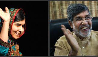 Malala Yousafzai and Kailash Satyarthi co-winners of the 2014 Nobel Peace Prize. (AP Photo/Rui Vieira, Bernat Armangue)