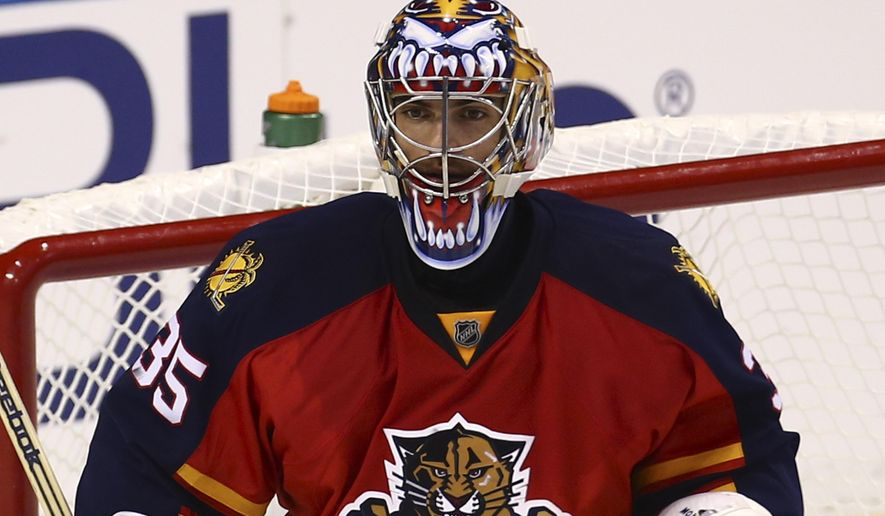 Florida Panthers goalie Al Montoya watches game action against the New Jersey Devils' during the second period of a NHL hockey game in Sunrise, Fla., Saturday, Oct. 11, 2014. (AP Photo/J Pat Carter)