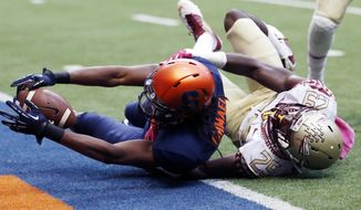 Syracuse wide receiver Steve Ishmael (8) gets past Florida State defensive back Nate Andrews (29) for a touchdown during the second half of an NCAA college football game, Saturday, Oct. 11, 2014, in Syracuse, N.Y. (AP Photo/Mike Groll)