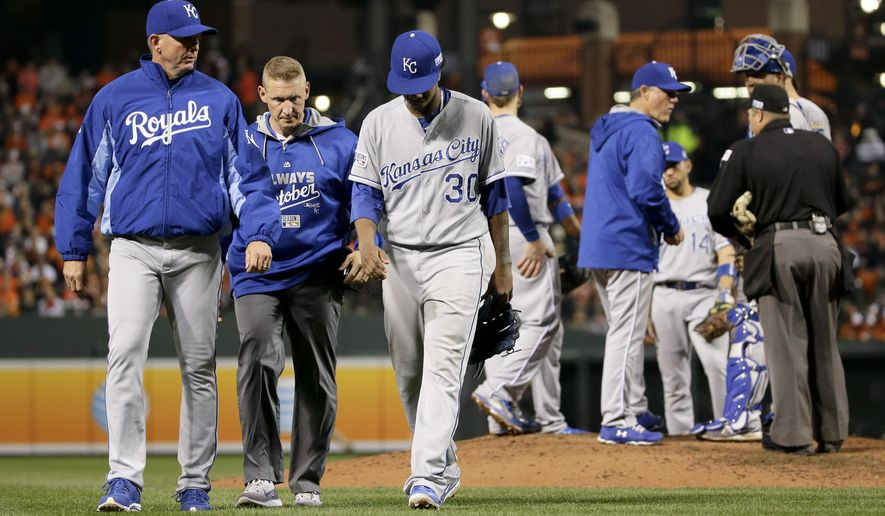 Kansas City Royals starting pitcher Yordano Ventura (30) leaves the game during the sixth inning of Game 2 of the American League baseball championship series against the Baltimore Orioles Saturday, Oct. 11, 2014, in Baltimore. (AP Photo/Matt Slocum)