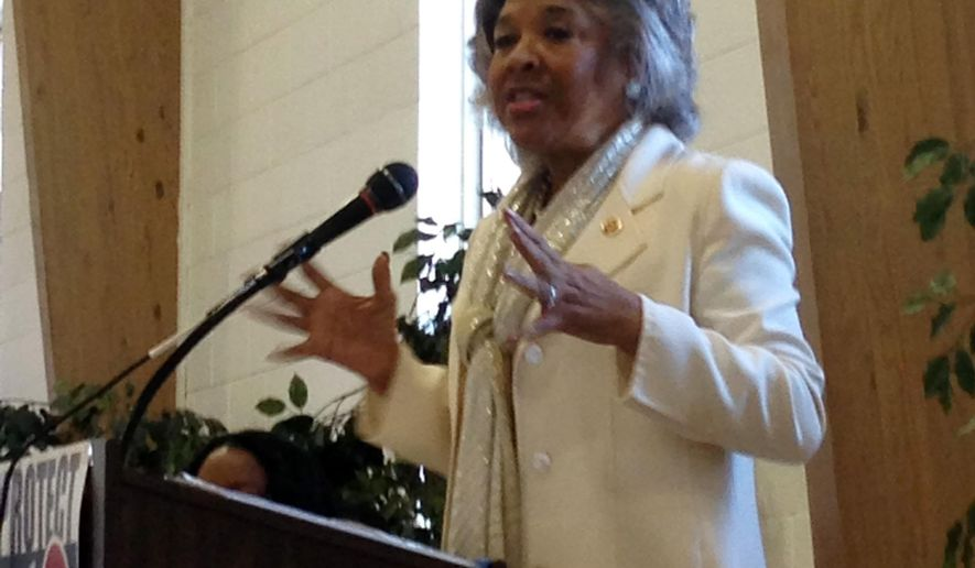 U.S. Rep. Joyce Beatty, a Columbus Democrat, addresses a statewide voting rights summit on Saturday, Oct. 11, 2014, at Trinity Baptist Church in Columbus, Ohio. (AP Photo/Julie Carr Smyth)