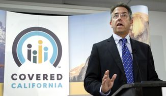 FILE - In this Nov. 13, 2013 file photo, Peter Lee, executive director of Covered California, the state's health insurance exchange, talks at a news conference in Sacramento, Calif. Long before it opened its doors to the public last fall, California's health insurance exchange awarded a small contract to a business consultant, Leesa Tori, for her advice on designing a program to sell insurance to small companies The industry veteran was a friend and former co-worker of Peter Lee, the exchange's top executive. The seemingly minor deal would mark the beginning of a lucrative and far-reaching partnership between the new state agency and the boutique consulting company Tori formed last year, just as national health care reform took root across the U.S.  (AP Photo/Rich Pedroncelli, File)