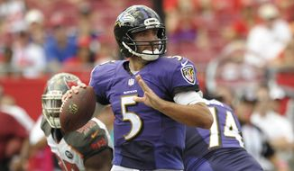 Baltimore Ravens quarterback Joe Flacco (5) looks for a receiver as he is pressured by the Tampa Bay Buccaneers defense during the second half of an NFL football game in Tampa, Fla., Sunday, Oct. 12, 2014. (AP Photo/Steve Nesius)