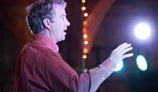 U.S. Sen. Rand Paul, R-Ky., speaks to supporters Sunday, Oct. 12, 2014, during Rand Paul's Barnburner & BBQ in Bowling Green, Ky. (AP Photo/Daily News, Bac To Trong)