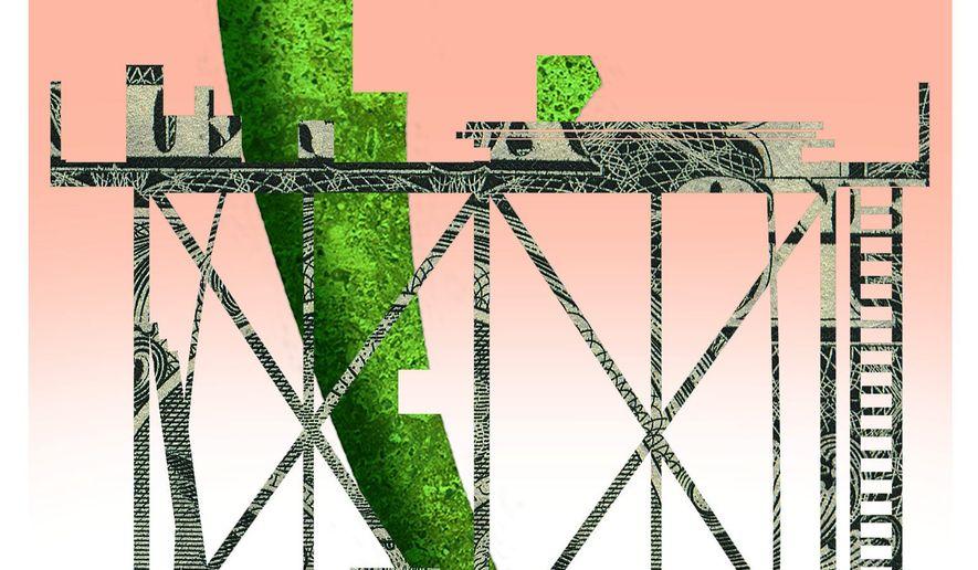 Illustration on the U.S. funding rebuilding of Gaza by Alexander Hunter/The Washington Times