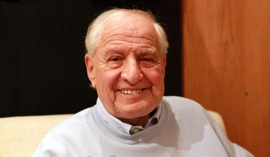 """In this Oct. 2, 2014 photo, director Gary Marshall poses at the Vineyard Theatre in New York, where he is directing the play """"Billy & Ray,"""" about the making of the classic film """"Double Indemnity.""""  Marshall, who created and wrote """"Laverne & Shirley"""" and """"Happy Days"""" for TV, said he was attracted to the show because he's usually associated with light, romantic fare. (AP Photo/Mark Kennedy)"""