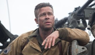 """This photo released by Sony Pictures Entertainment shows Brad Pitt as Wardaddy in a scene from """"Fury."""" (AP Photo/Sony Pictures Entertainment, Giles Keyte)"""