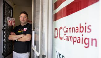In this photo taken Oct. 9, 2014, Adam Eidinger, chairman of the DC Cannabis Campaign, poses for a portrait at the DC Cannabis Campaign headquarters, where he works in support of DC Ballot Initiative 71 to legalize small amounts of marijuana for personal use, in Washington. Legalized weed would look far different in the nation's capital than it does in other places that have chosen to decriminalize marijuana. Even if voters approve it next month, as appears likely, it would remain banned in the roughly one-fourth of the District of Columbia that is federal land, so there would still be no lighting a joint in front of the Jefferson Memorial. The capital also remains under the thumb of Congress, which could quash legalization in D.C. regardless of what the voters want. (AP Photo/Jacquelyn Martin)