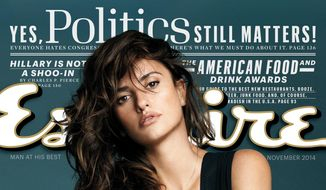 "This image released by Esquire shows actress Penelope Cruz on the November 2014 cover of ""Esquire"" magazine. The magazine has named Cruz The Sexiest Woman Alive for 2014. (AP Photo/Esquire)"