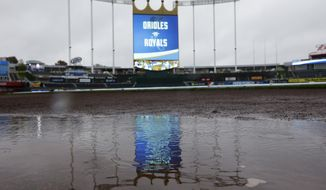 Rain hit puddles on the warning track before Game 3 of the American League baseball championship series between the Baltimore Orioles and the Kansas City Royals Monday, Oct. 13, 2014, in Kansas City, Mo. (AP Photo/Michael Conroy)