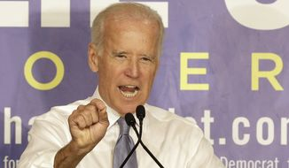 Vice President Joe Biden gestures as he speaks to supporters during a Florida for Crist campaign stop at Century Village in Boca Raton, Fla., Monday, Oct. 13, 2014. (AP Photo/Alan Diaz)