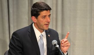 Paul Ryan debates with Rob Zerban at Carthage College in Kenosha, Wis., on Monday, Oct. 13, 2014. (AP Photo/The Kenosha News, Sean Krajacic)
