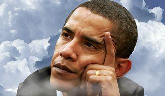 Illustration on Obama's disengaged attitude by Alexander Hunter/The Washington Times