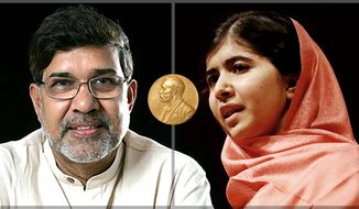 Nobel Peace Prize winners Kailash Satyarthi and Malala Yousafzai      The Washington Times