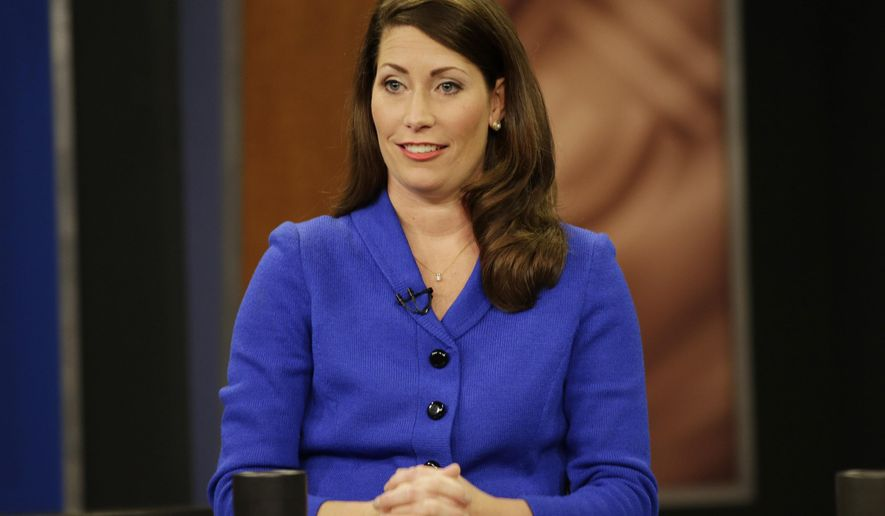 "Kentucky Secretary of State Alison Lundergan Grimes, before her appearance on ""Kentucky Tonight"" television broadcast with U.S. Senate Minority Leader Mitch McConnell (R) Ky., live from KET studios in Lexington, Ky., on Monday, Oct. 13, 2014. (AP Photo/The Lexington Herald-Leader, Pablo Alcala, Pool)"
