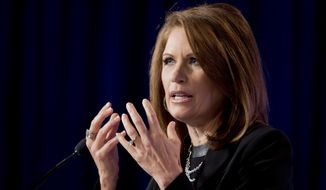 Michele Bachmann, Minnesota Republican, speaks at the 2014 Values Voter Summit in Washington on Sept. 26, 2014. (Associated Press) **FILE**