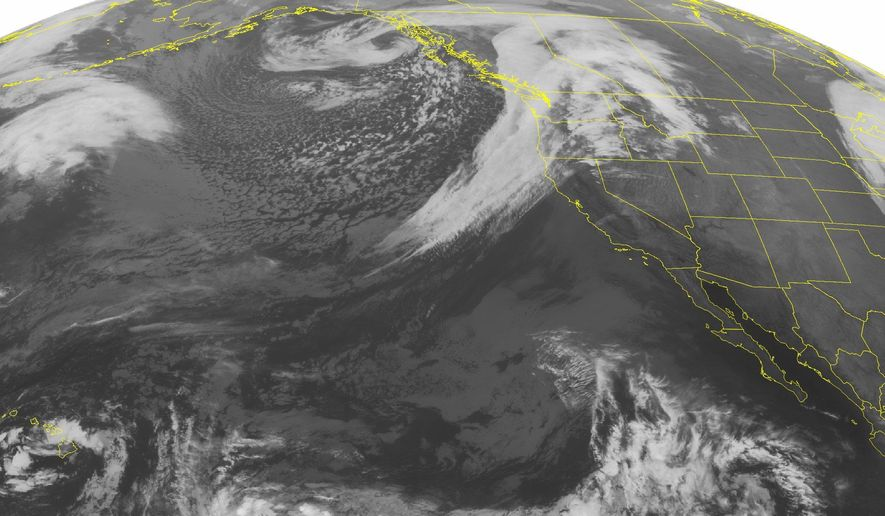 This NOAA satellite image taken Tuesday, Oct. 14, 2014, at 02:00 AM EDT shows a large occluded low pressure system over western Canada producing rain for much of the Pacific Northwest. Mostly clear skies for the rest of the West due to a dominant high pressure system over the Rocky Mountains. Tropical Storm Ana is slowly developing to the southeast of Hawaii. (AP Photo/NOAA via Weather Underground)