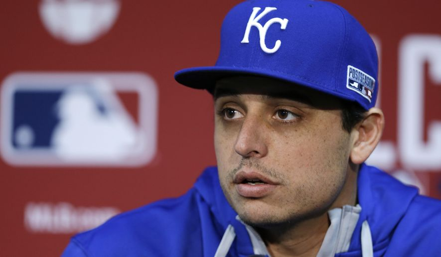 Kansas City Royals starting pitcher Jason Vargas listens to a question before Game 3 of the American League baseball championship series against the Baltimore Orioles Tuesday, Oct. 14, 2014, in Kansas City, Mo. (AP Photo/Michael Conroy)