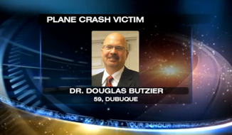 Dr. Douglas Butzier, who was running for the U.S. Senate as a libertarian candidate, died Monday night in a plane crash near Dubuque Regional Airport. (KCRG)