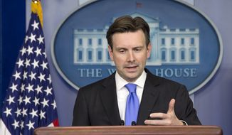 White House press secretary Josh Earnest speaks said the U.S. is making progress in the fight against the Islamic State. (AP Photo/Jacquelyn Martin)