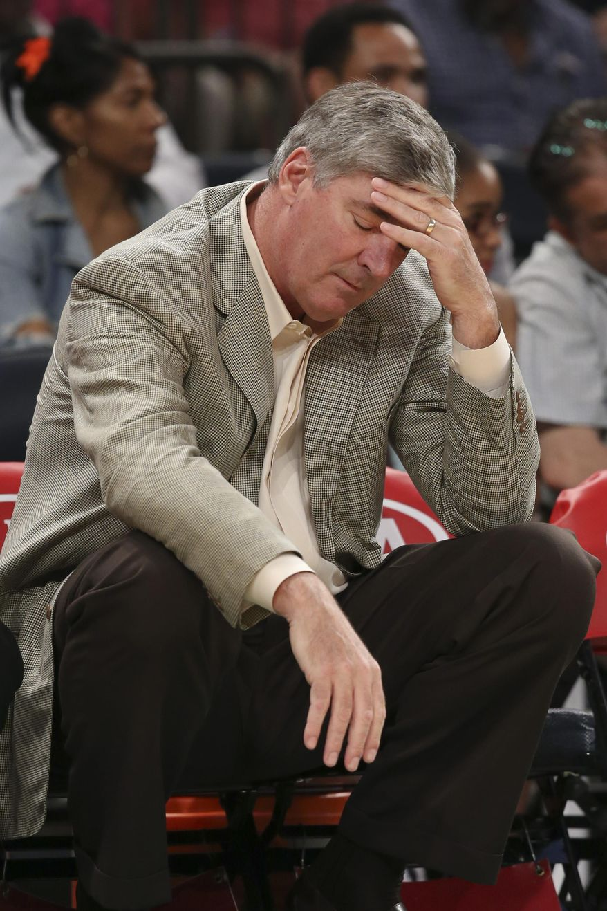 FILE - In this June 29, 2014, file photo, New York Liberty head coach and general manager Bill Laimbeer reacts on the bench during the first half of a WNBA basketball game against the Connecticut Sun at Madison Square Garden in New York. The Liberty have split with  Laimbeer. The WNBA team said Tuesday, Oct. 14, 2014,  it didn't renew his contract.  (AP Photo/John Minchillo, File)