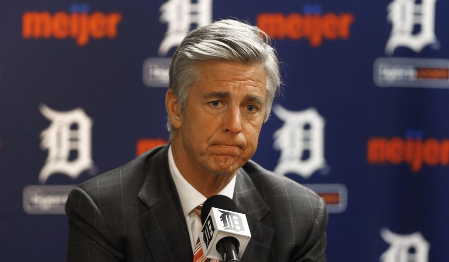 Detroit Tigers general manager Dave Dombrowski speaks to the media in Detroit Tuesday, Oct. 14, 2014. Dombrowski discussed the team's offseason plans. Detroit won the AL Central for a fourth straight year but was swept by Baltimore in the playoffs. (AP Photo/Paul Sancya)