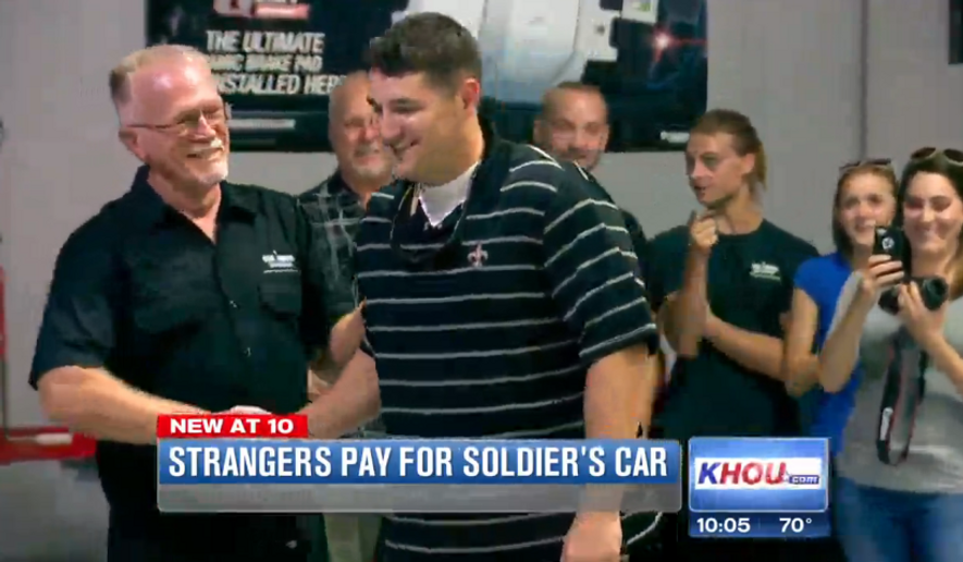 Retired Staff Sgt. Kelly Foster was stunned when he walked into a Houston-area repair shop to find out that strangers had paid nearly $20,000 to have his '65 Mustang restored. (KHOU)