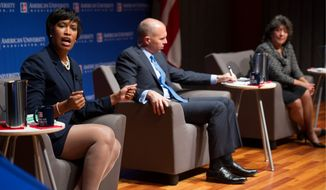 D.C. Council members Muriel Bowser (left) and David A. Catania, and former council member Carol Schwartz, candidates for mayor of the District, took swipes at each other during a debate Wednesday. The three, each hoping to succeed Mayor Vincent C. Gray, will debate again Thursday, in advance of Saturday's start of early voting. (ASSOCIATED PRESS)
