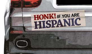Hispanic Bumper Sticker Illustration by Greg Groesch/The Washington Times