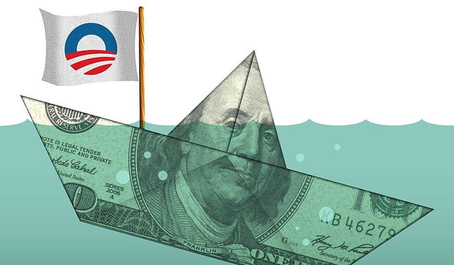 Illustration on Obama's economy by Alexander Hunter/The Washington Times