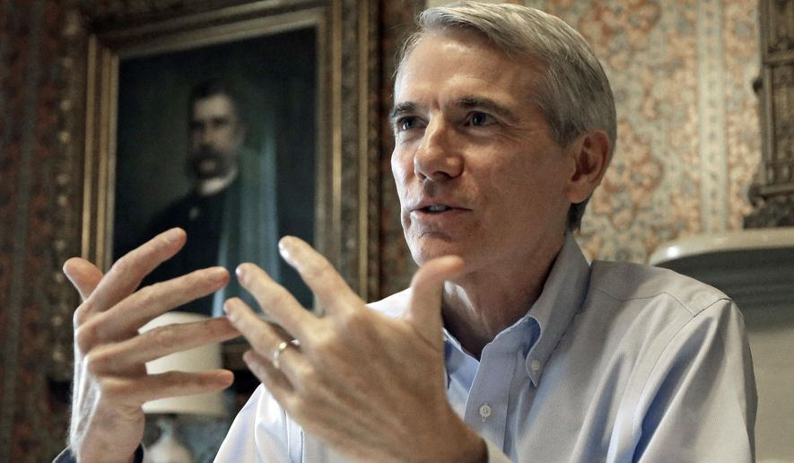 Sen. Rob Portman, R-Ohio, is interviewed, Monday, Oct. 13, 2014, in Lebanon, Ohio. (AP Photo/Al Behrman) ** FILE **
