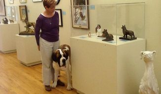 This Oct. 11, 2014 photo provided by the American Kennel Club Museum of the Dog in Queeny Park in St. Louis shows a visitor looking at museum exhibits accompanied by her dog. The museum is filled with dog art _ paintings, sculptures, porcelain figures and more _ and visitors are allowed to bring leashed dogs along on their visits. (AP Photo/ American Kennel Club Museum of the Dog, Diane Saltzman)