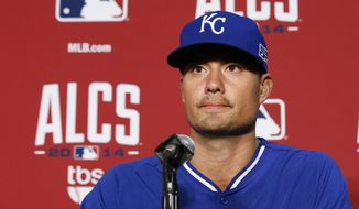Kansas City Royals starting pitcher Jeremy Guthrie listens to a question during a news conference before of Game 2 of the American League baseball championship series against the Baltimore Orioles Saturday, Oct. 11, 2014, in Baltimore. (AP Photo/Alex Brandon)
