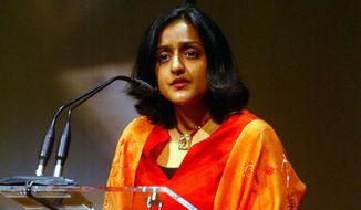 Vanita Gupta speaks after receiving a 2004 Reebok Human Rights Award, Wednesday, May 5, 2004, in New York. Gupta, a New York-based attorney, received her award for helping win the pardons of 35 black Americans who had been arrested on trumped-up drug charges in Texas. (AP Photo/Mike Appleton) **FILE**