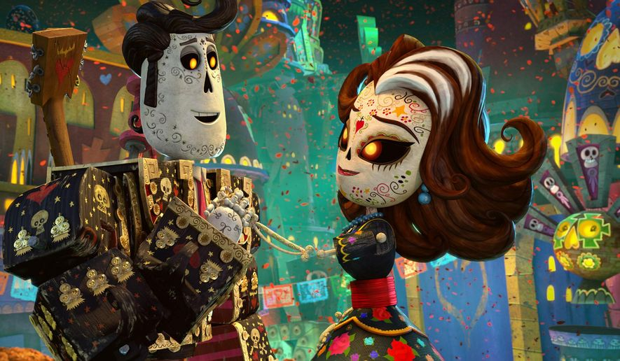 "This image released by Twentieth Century Fox  shows the characters Manolo, voiced by Diego Luna, left, and Carmen Sanchez, voiced by Ana de la Reguera  in a scene from ""The Book of Life.""  (AP Photo/Twentieth Century Fox)"