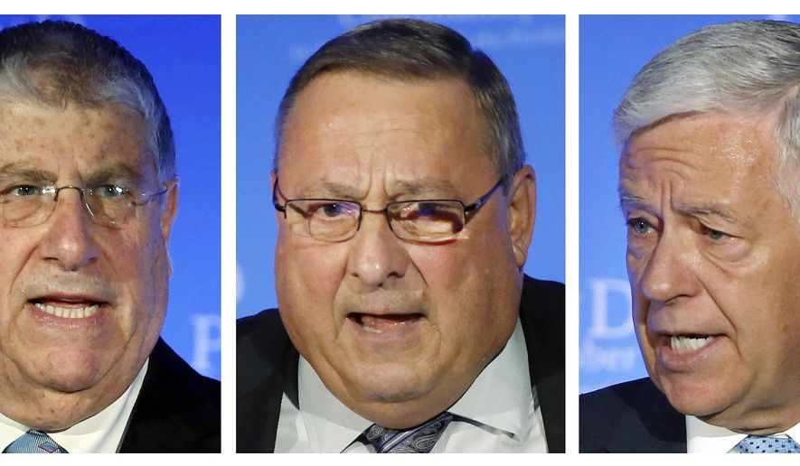 FILE - In these Oct. 8, 2014 file photos, gubernatorial candidates Independent Eliot Cutler, left, incumbent Republican Gov. Paul LePage, center, and Democrat Mike Michaud participate in a debate in Portland, Maine. The three will meet Wednesday night, Oct. 15, 2014, in Augusta for their first televised debate. (AP Photo/Robert F. Bukaty, File)