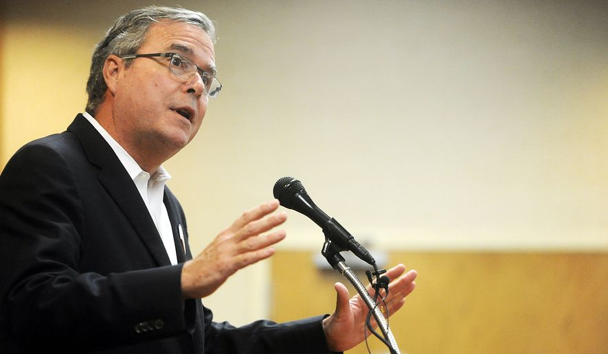 Jeb Bush talks to supporters during a campaign rally for his son, George P. Bush, Tuesday, Oct. 14, 2014 at Hardin-Simmons University. (AP Photo/The Abilene Reporter-News, Joy Lewis)