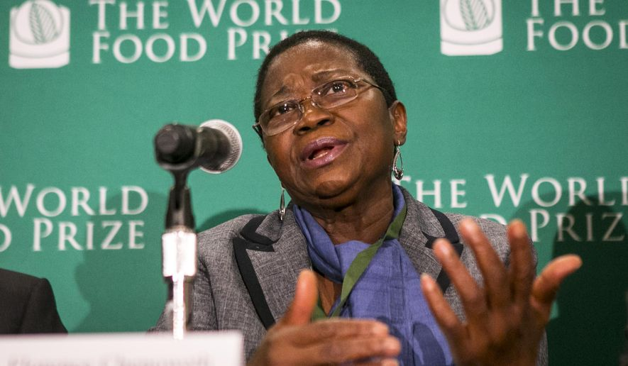 Florence Chenoweth, Minister of Agriculture, Liberia speaks at a press conference to address the importance of investing in rural agriculture around the world, especially in the face of issues such as the current Ebola crisis, at the World Food Prize Symposium Wednesday Oct. 15, 2014, in Des Moines, Iowa.(AP Photo/The Des Moines Register, Rodney White)  MAGS OUT, TV OUT, NO SALES, MANDATORY CREDIT