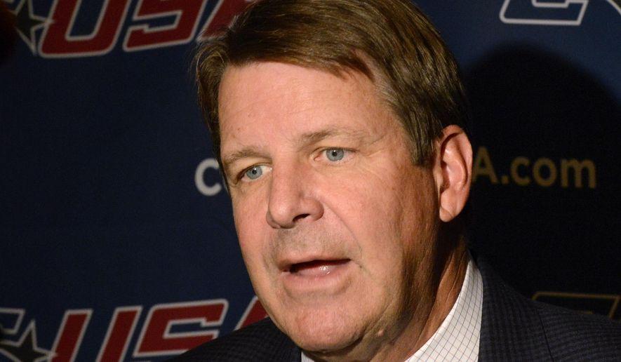 Uuniversity of Texas-El Paso Coach Tim Floyd speaks during the Conference USA NCAA college basketball media day in Birmingham, Ala., Wednesday, Oct. 15, 2014.  (AP Photo/ Al.com, Mark Almond)  MAGS OUT
