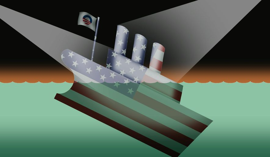 Illustration on the political abandonment of the failing Obama administration by Alexander Hunter/The Washington Times