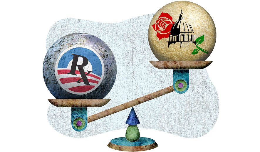 March for Life vs. Obamacare Illustration by Greg Groesch/The Washington Times