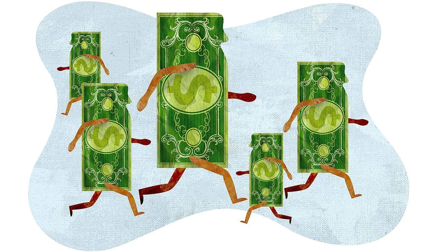 Illustration on income inequality by Greg Groesch/The Washington Times