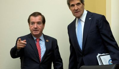 House Foreign Affairs Committee Chairman Rep. Edward R. Royce, California Republican (left), has called on the State Department to implement travel suspensions for nationals originating in West African countries plagued by Ebola. (Associated Press)