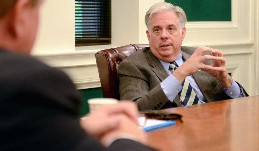 "'Baby steps': Maryland gubernatorial candidate Larry Hogan, a Republican, said taking on the Democrat-led legislature would be tough, but ""We're going to try to win the battles we can win."" (Lloyd Villas/The Washington Times)"